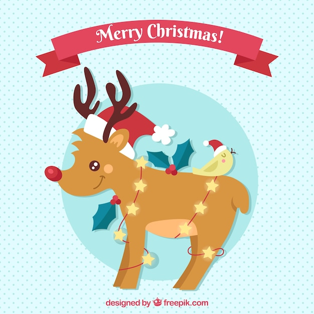 Christmas background with lovely reindeer Free Vector