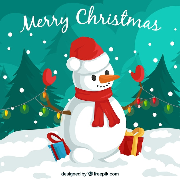 Christmas background with lovely snow man Free Vector