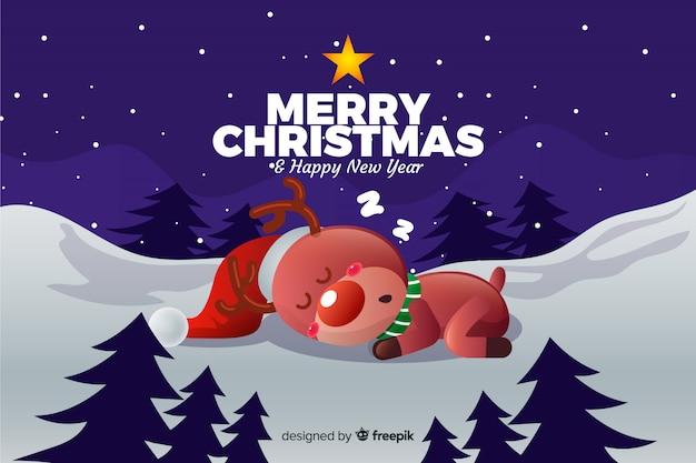Sfondi Natalizi Renne.Vettore Gratis Sfondo Di Natale Con Belle Renne