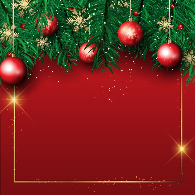 free vector christmas background with pine tree branches and hanging baubles pine tree branches and hanging baubles