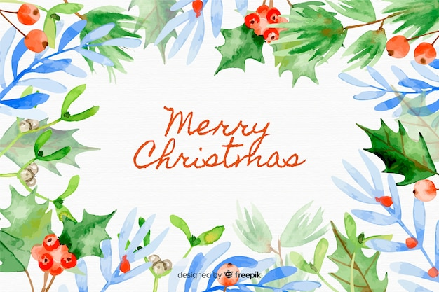 Christmas background with poinesettia leaves Free Vector