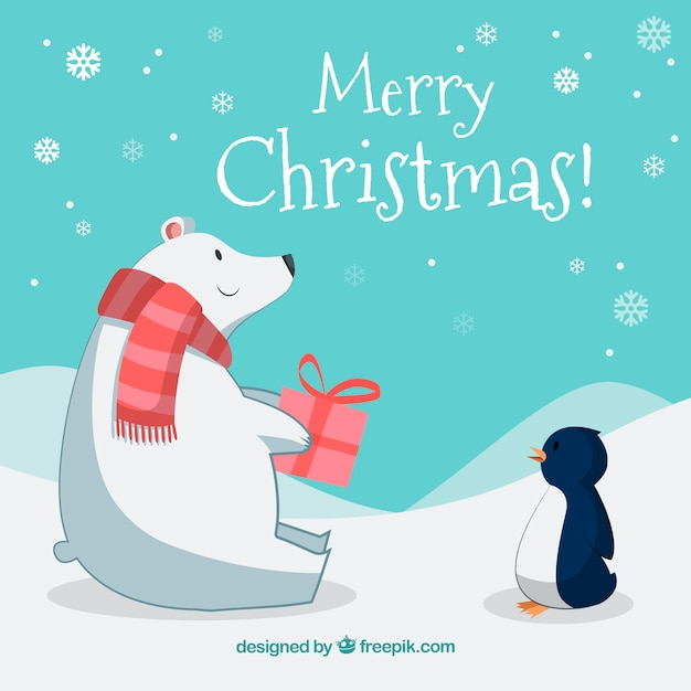 Christmas background with polar bear and penguin
