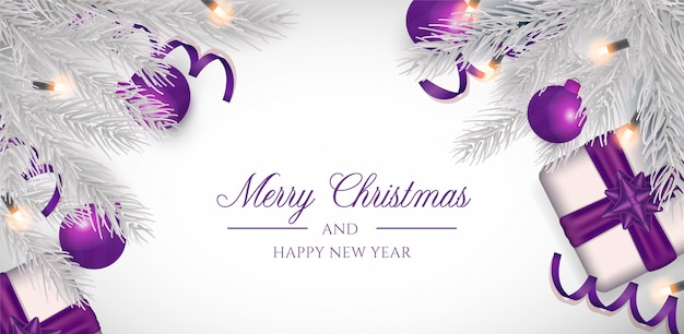 Рождественский фон с фиолетовым декором Бесплатные векторы