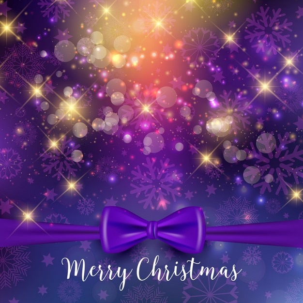Christmas background with purple ribbon Free Vector