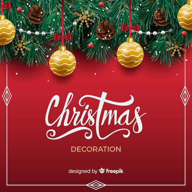 Christmas background with realistic decoration Free Vector
