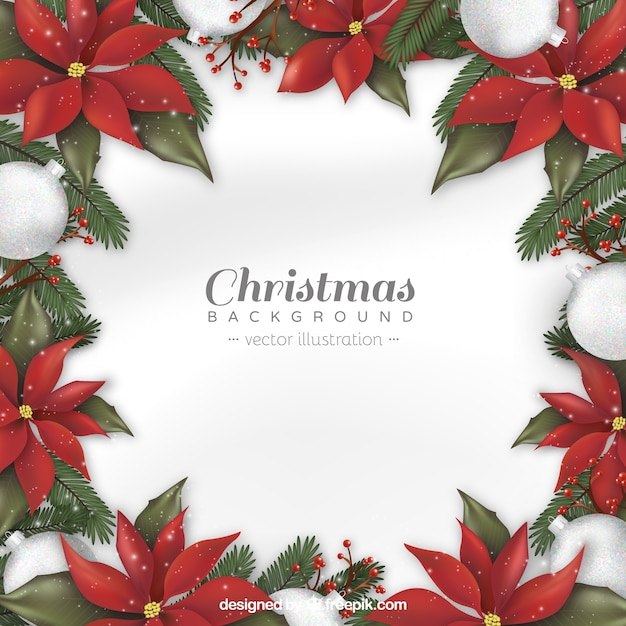 Christmas background with realistic flowers vector free