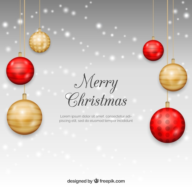 Christmas Ornament Illustration Part - 31: Christmas Background With Realistic Golden And Red Baubles