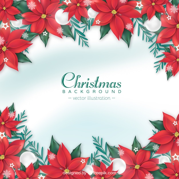 Christmas background with realistic red flowers vector