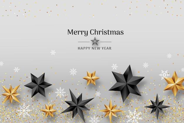 現実的な星とクリスマスの背景 無料ベクター