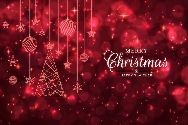 赤いキラキラとクリスマスの背景 無料ベクター