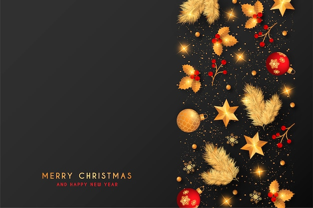 Christmas background with red and golden decoration Free Vector