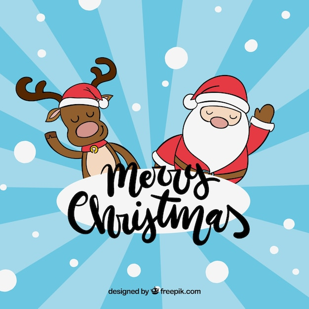 Christmas background with reindeer and santa claus Free Vector