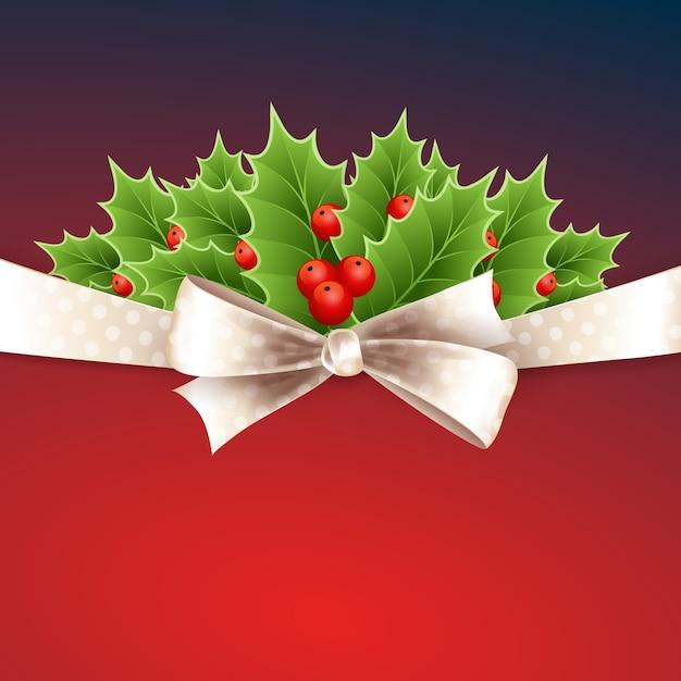 리본, 활과 홀리와 크리스마스 배경 프리미엄 벡터