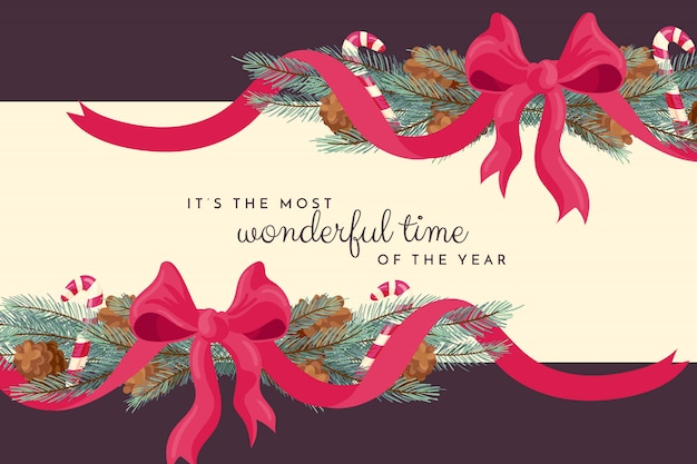 Christmas background with ribbon Free Vector