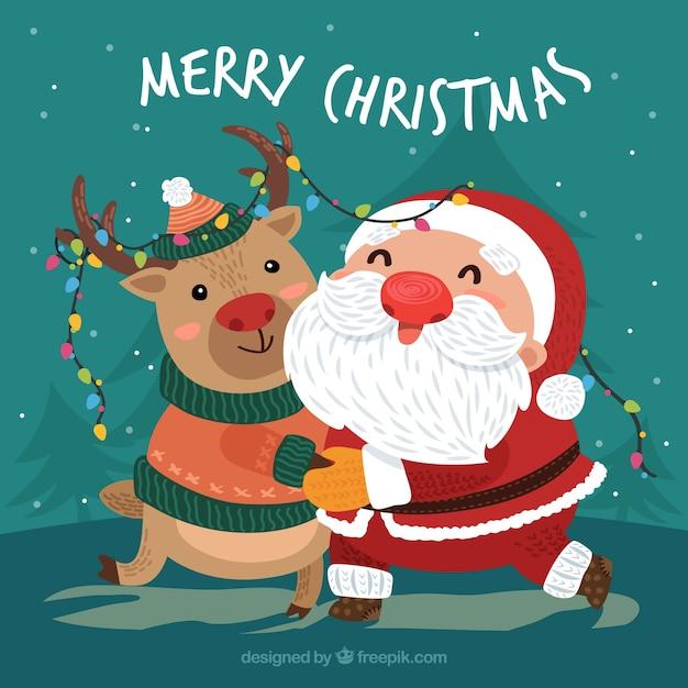 Sfondi Babbo Natale.Sfondo Natale Con Babbo Natale Che Abbraccia Una Renna Vettore Gratis