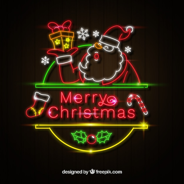 christmas background with santa claus neon lights 23 2147729111