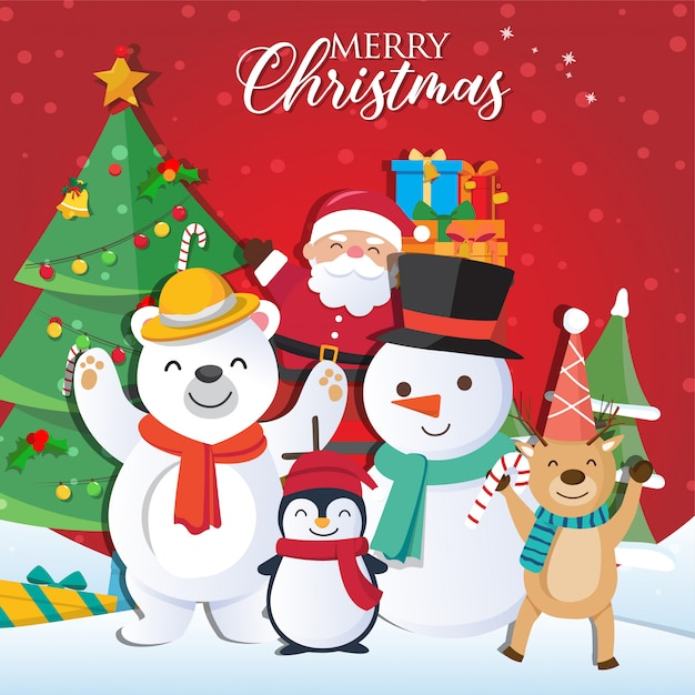 Christmas background with santa claus Premium Vector