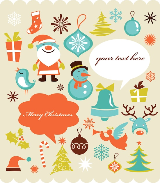Christmas background with set of icons , retro style Premium Vector