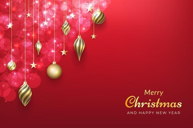 빛나는 금 장신구와 크리스마스 배경입니다. 프리미엄 벡터