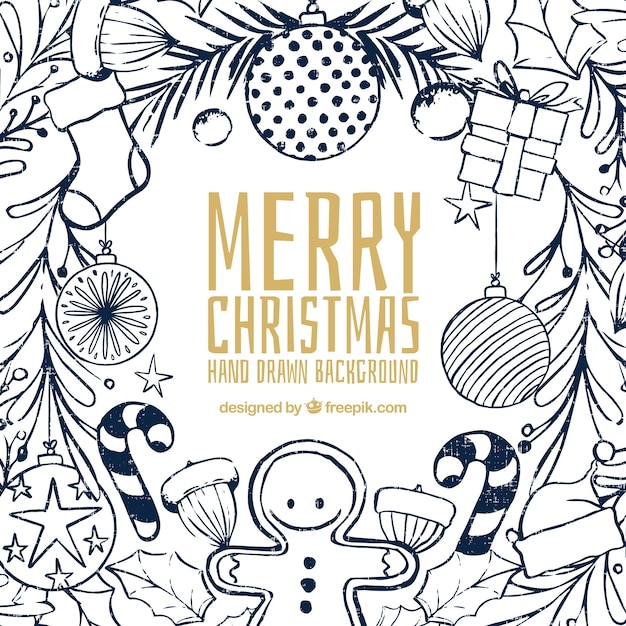 Christmas Sketches.Christmas Background With Sketches Vector Free Download