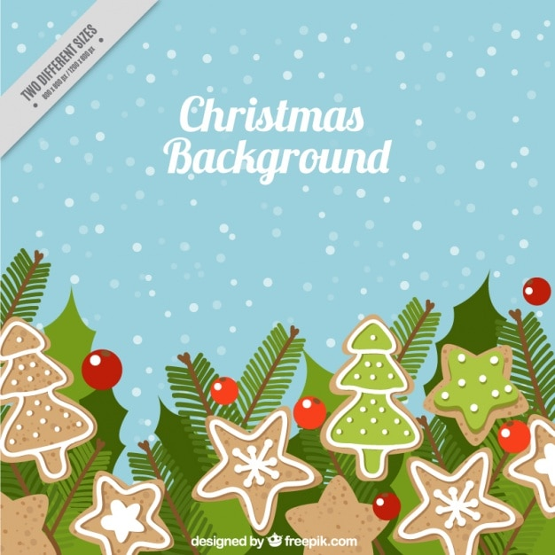 Christmas background with snow and cookies Free Vector