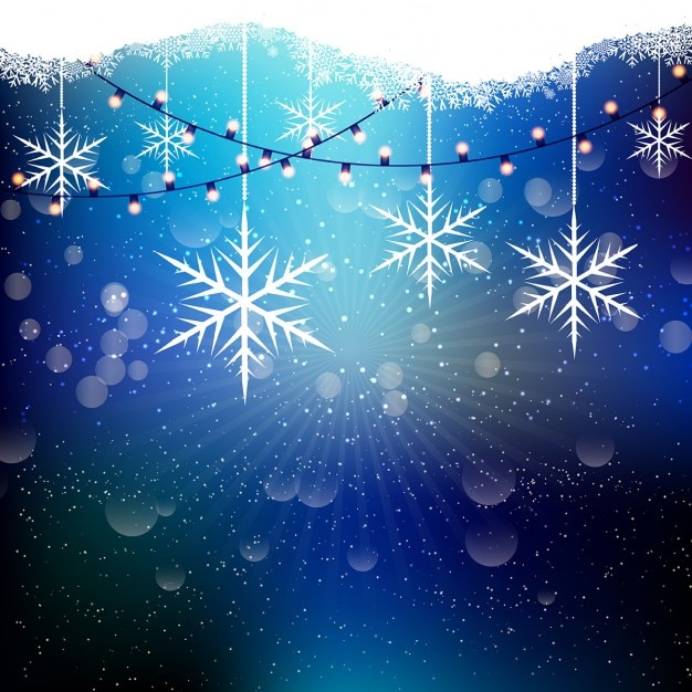 Christmas String Lights Background : Christmas background with snowflakes and string lights Vector Free Download