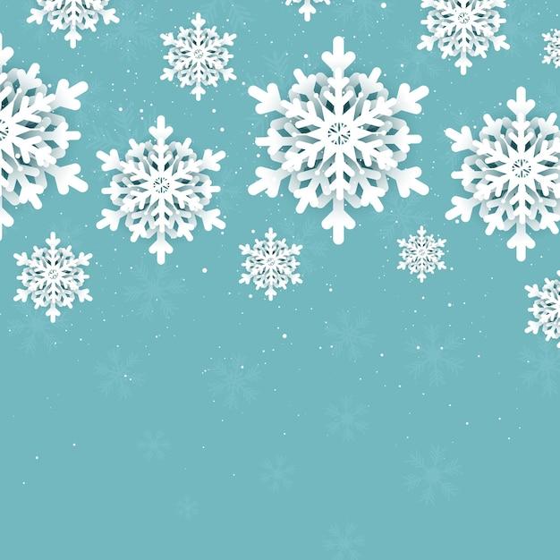 Новогодний фон со снежинками Бесплатные векторы