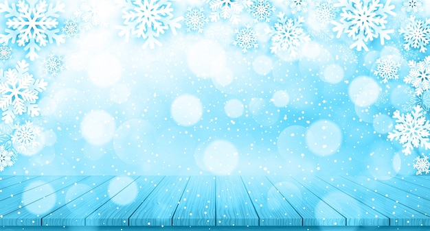 Christmas background with snowflakes and wood table Premium Vector