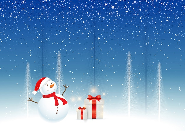 christmas background with snowman gifts 1048 11174