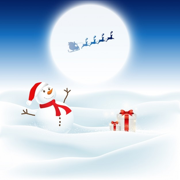 Christmas background with snowman and santa flying through the night sky Free Vector