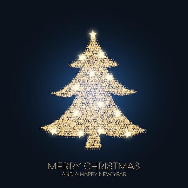 반짝이 나무 디자인으로 크리스마스 배경 프리미엄 벡터