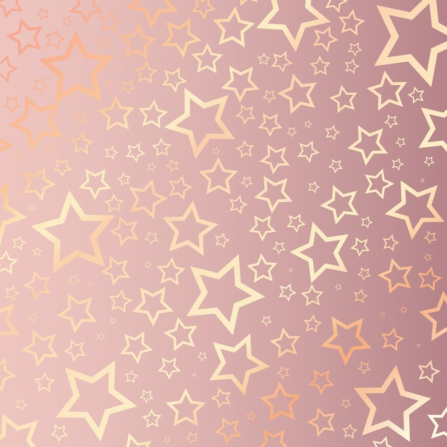 Рождественский фон со звездным узором на розовом золоте Бесплатные векторы
