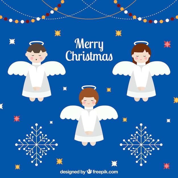 Angels Christmas Background.Christmas Background With Three Cute Angels Vector Free