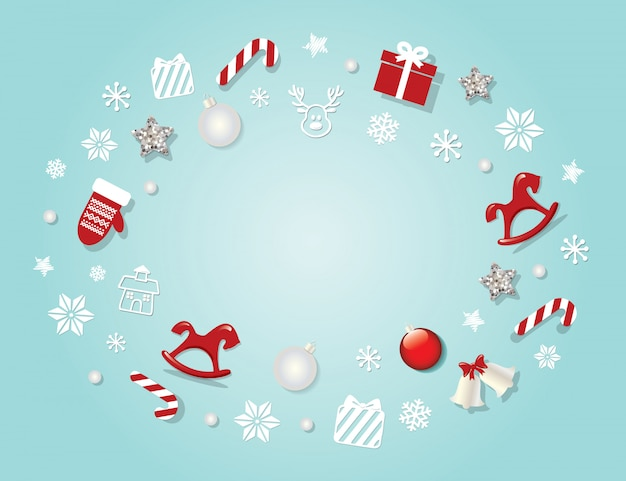 伝統的な装飾的な要素とクリスマスの背景。 Premiumベクター