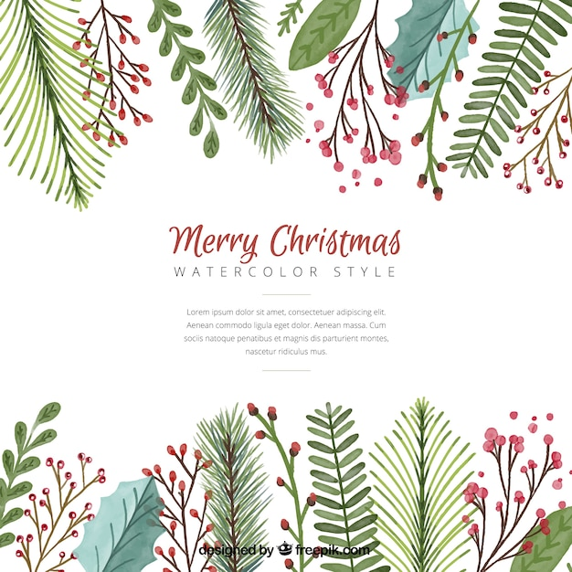 Christmas background with watercolor leaves Vector | Free Download