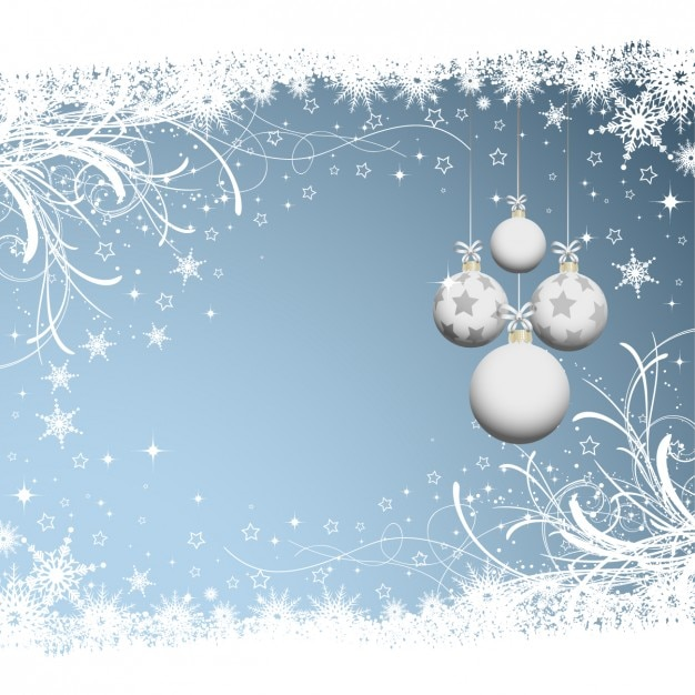 Christmas background with white baubles Vector | Free Download