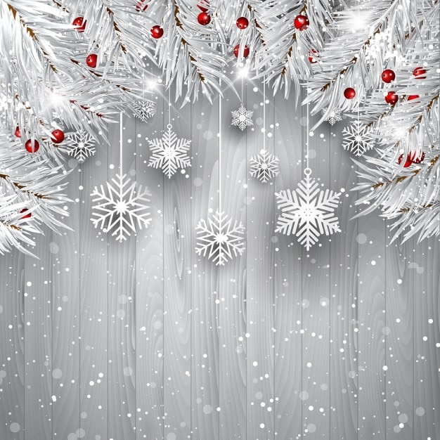 Christmas background with white wood Vector | Free Download