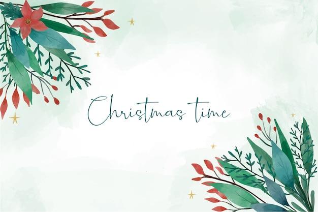 모서리에 겨울 잎 크리스마스 배경 무료 벡터