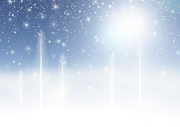 Sfondo di natale con un paesaggio invernale innevato Vettore gratuito