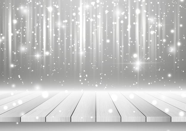 Рождественский фон с деревянным столом, глядя на серебряный сверкающий дизайн Бесплатные векторы