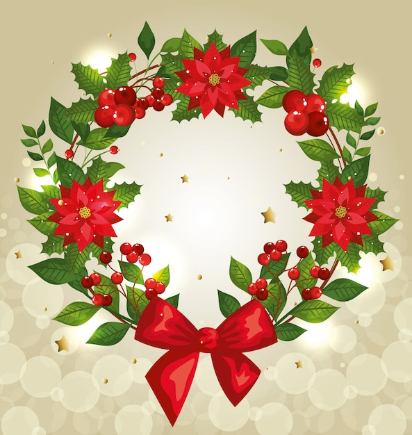 Christmas background with wreath and decoration Free Vector