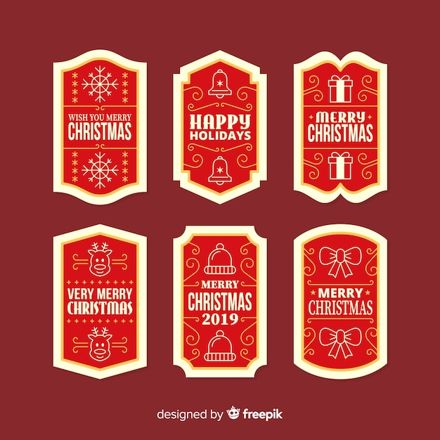 Christmas badge collection in flat design Free Vector