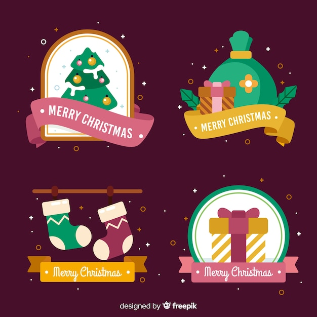 Christmas badge collection with confetti Free Vector