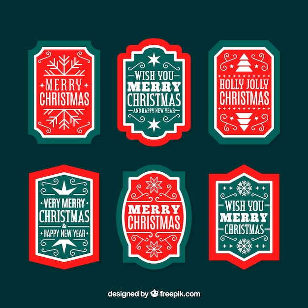 Christmas badges with classic style Free Vector