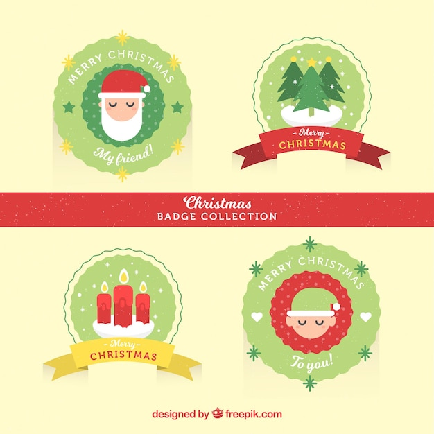 Christmas badges with flat design