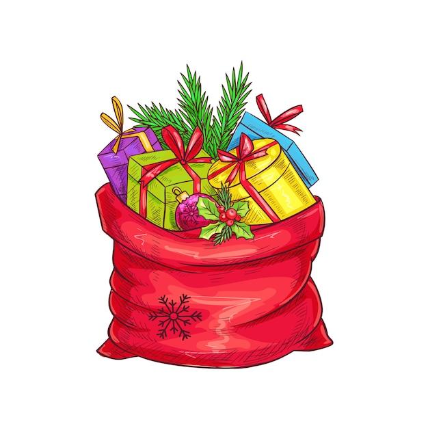 ギフト、クリスマスツリー、ホリーとクリスマスバッグ。スケッチスタイルのイラスト。 Premiumベクター