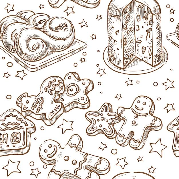 Рождественская выпечка бесшовные векторные эскиз рука рисунок Premium векторы