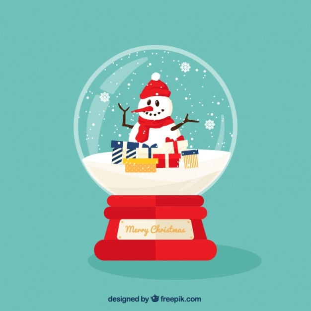 Christmas ball background with snowman in flat design Free Vector