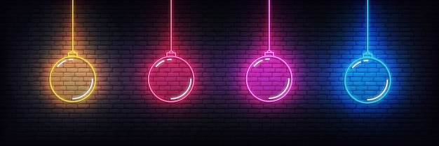 Christmas ball neon elements. set of realistic colorful xmas decorations glowing sign Premium Vector