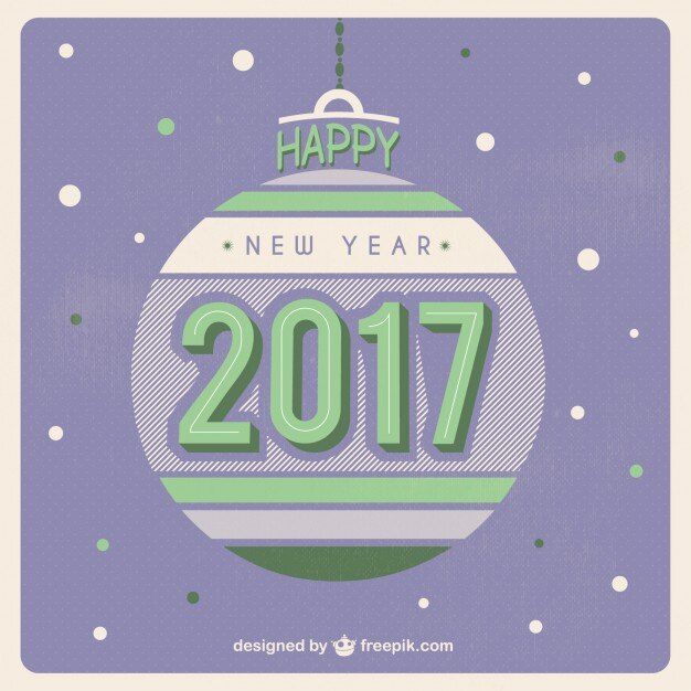 christmas ball new year background in a retro style free vector